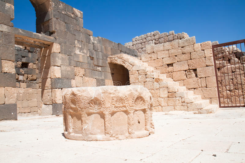 Stone well in Qasr Al Hallabat desert castle stock photography