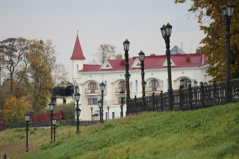 Stone white building on the banks of the Volga River. On an autumn afternoon stock photo