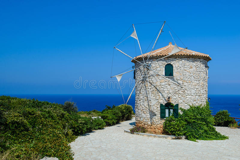 Stone Windmill at the Sea Coast stock image