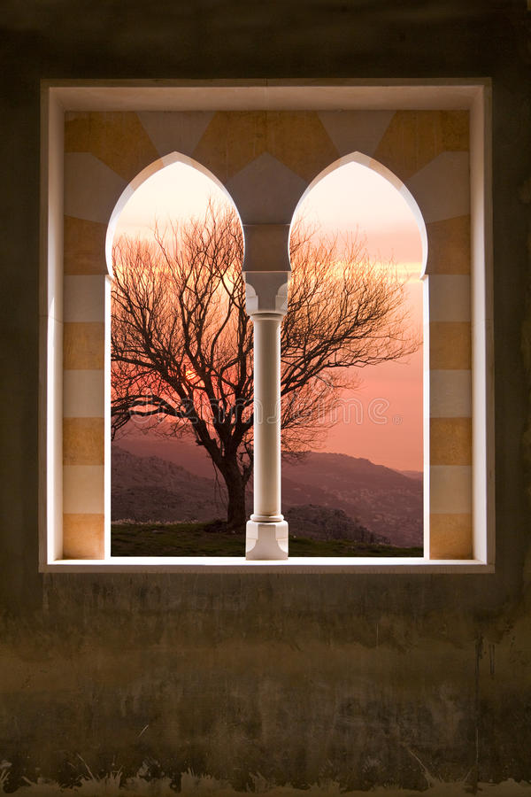 Stone Window Of A Villa Royalty Free Stock Photography