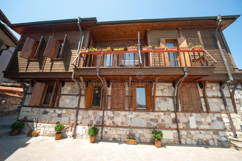 Stone-wood architecture on the waterfront of the old town of Sozopol in Bulgaria stock photo