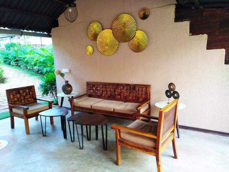 Hotel reception decor in Goa, India. `Stone wood resort and spa` hotel interior. Ashvem, Goa, Pernem road, India stock photography