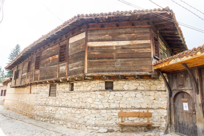 Stone-wooden architecture in old Koprivshtitsa, Bulgaria royalty free stock photos