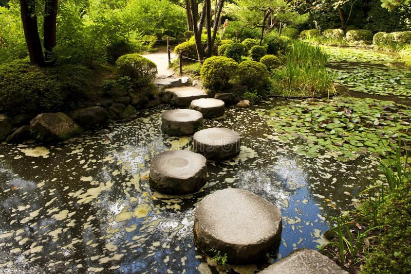Stone zen path stock photos