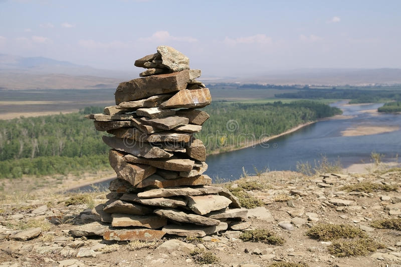 Download Stone Zen Tower At The Top Of A River Bank Stock Image - Image: 28974167