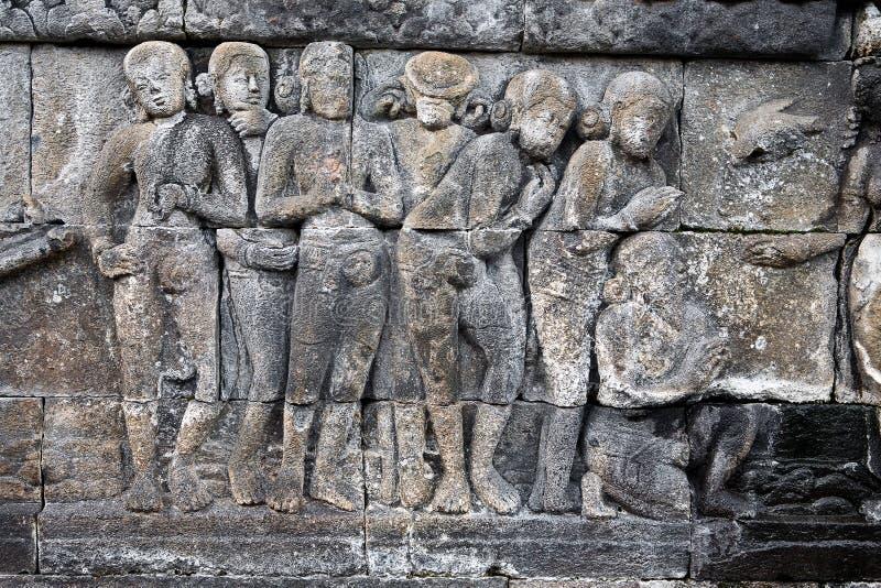 Stoneat tallado el templo de Borobudur imágenes de archivo libres de regalías