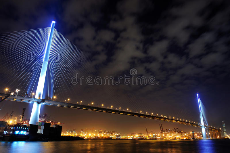 Stonecutters Bridge night view stock images