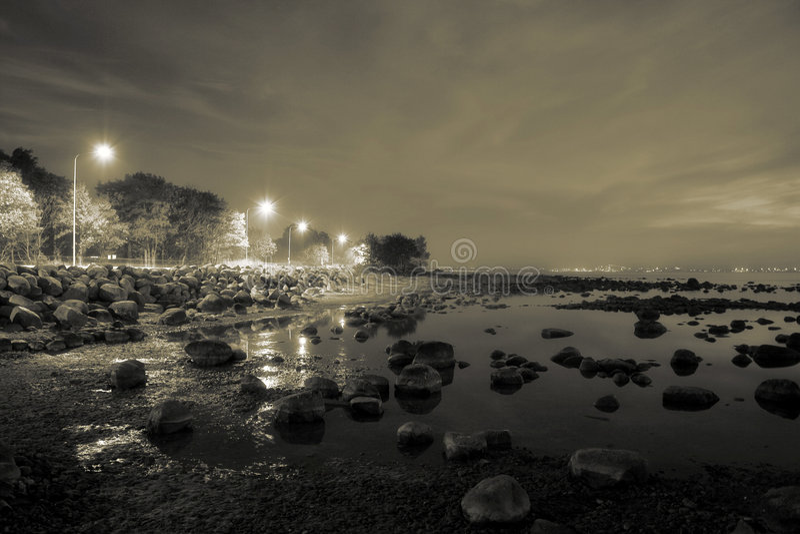Stoned beach. Baltic sea coast near tallinn, estonia stock image