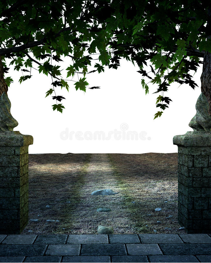 Download Stoned And Paved Road With Trees Stock Illustration - Illustration: 9907585