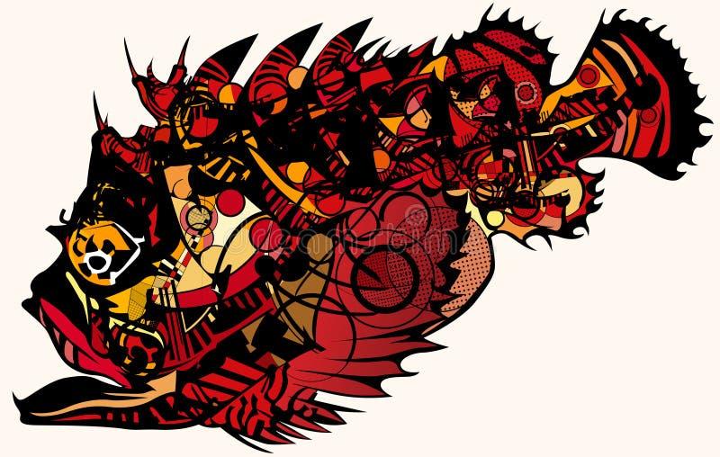 Stonefish vermelho ilustração royalty free