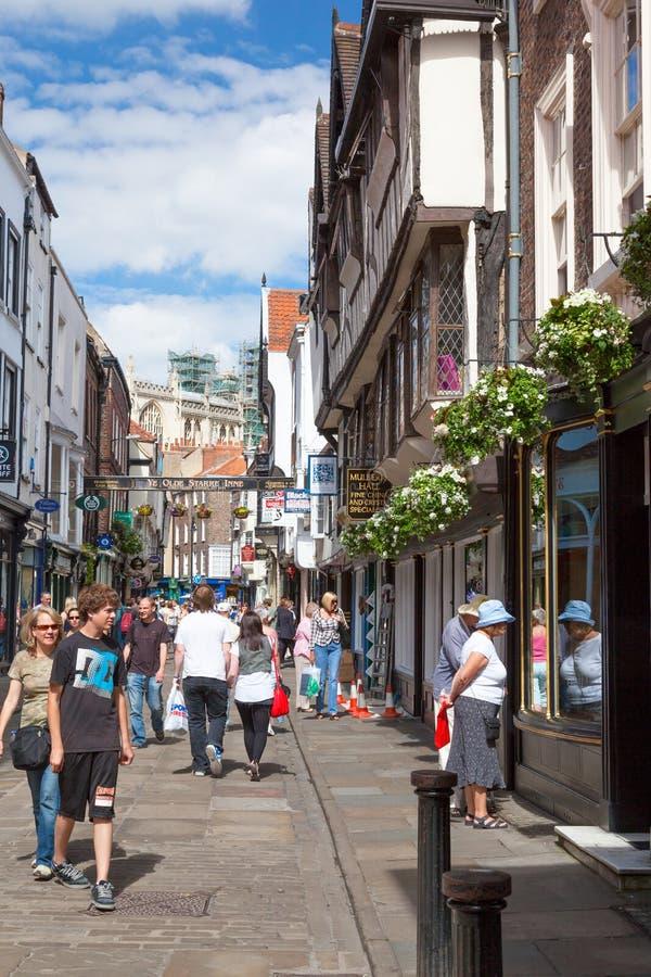 Stonegate ulica Jork, miasto w North Yorkshire, Anglia obraz royalty free