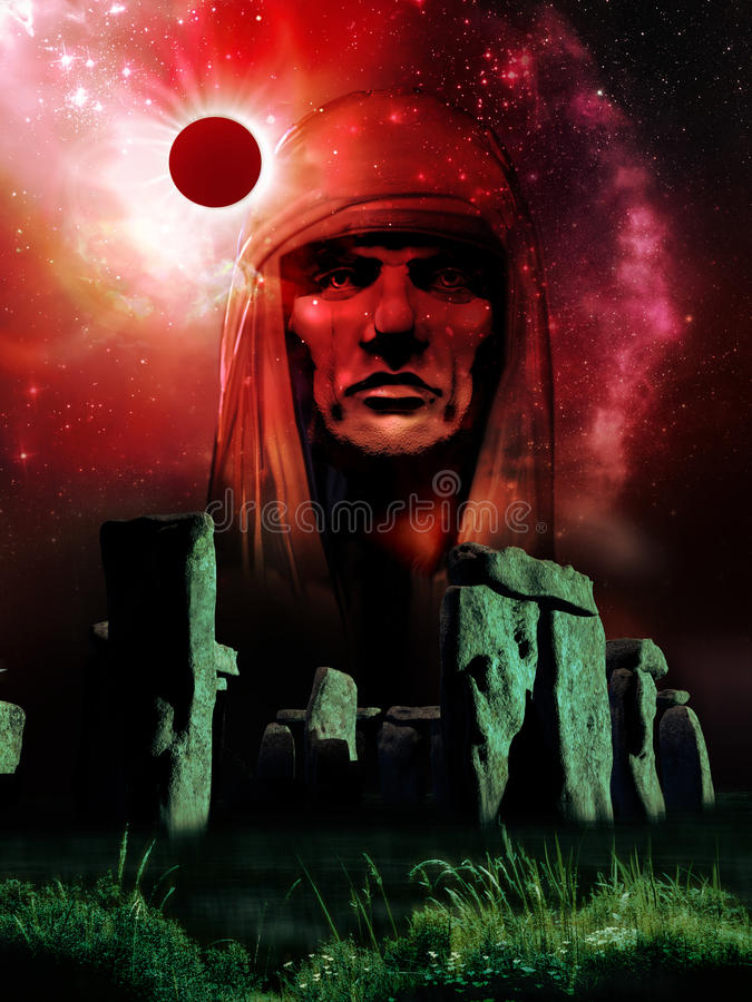 Stonehenge κάτω από την ηλιακή έκλειψη ελεύθερη απεικόνιση δικαιώματος