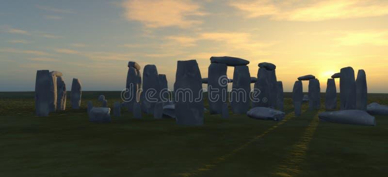 Stonehenge al crepuscolo illustrazione vettoriale