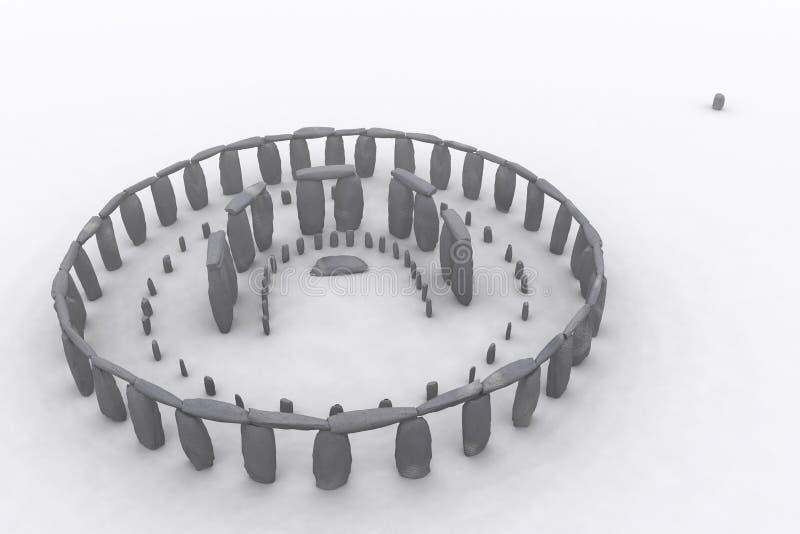 Stonehenge as it was. Stonehenge in 3D digital rendering royalty free illustration