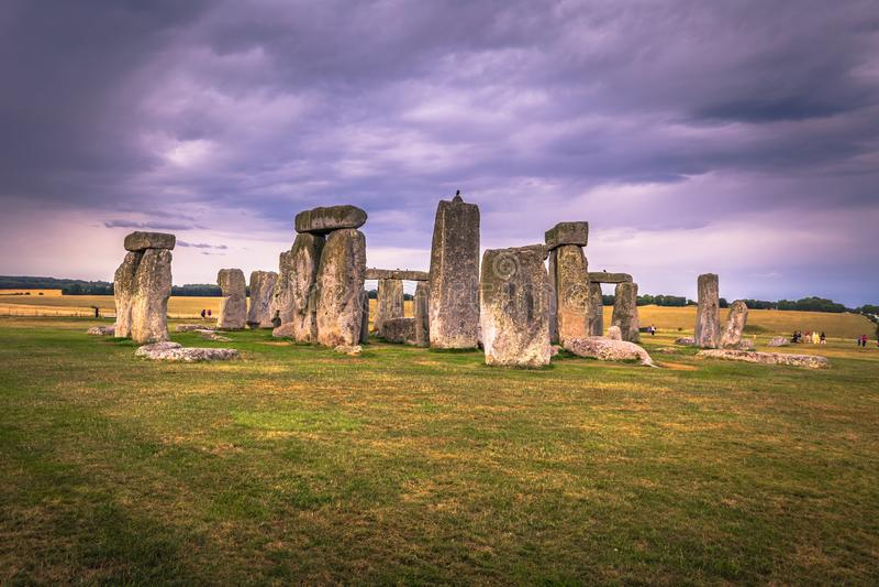 Stonehenge - Augusti 07, 2018: Fornminne av Stonehenge, England fotografering för bildbyråer