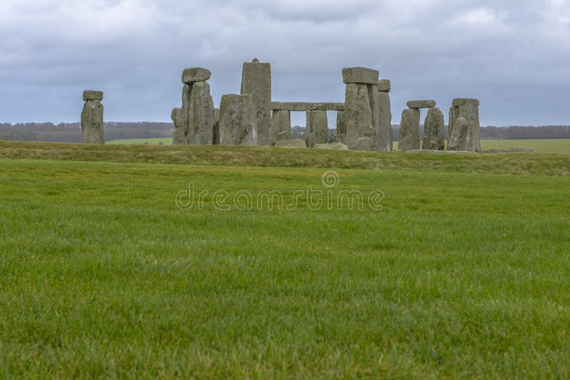 Stonehenge in a cloudy day in Wiltshire, England. Stonehenge is a prehistoric monument located in Wiltshire, England royalty free stock photo