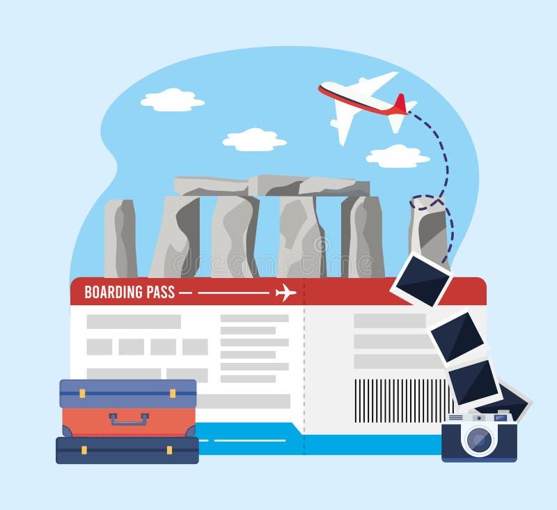 Stonehenge con il biglietto e la macchina fotografica con le immagini ed i bagagli illustrazione vettoriale
