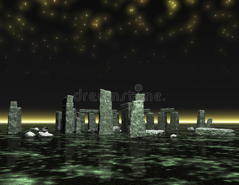 Stonehenge. Digital 3d visualization of stonehenge vector illustration