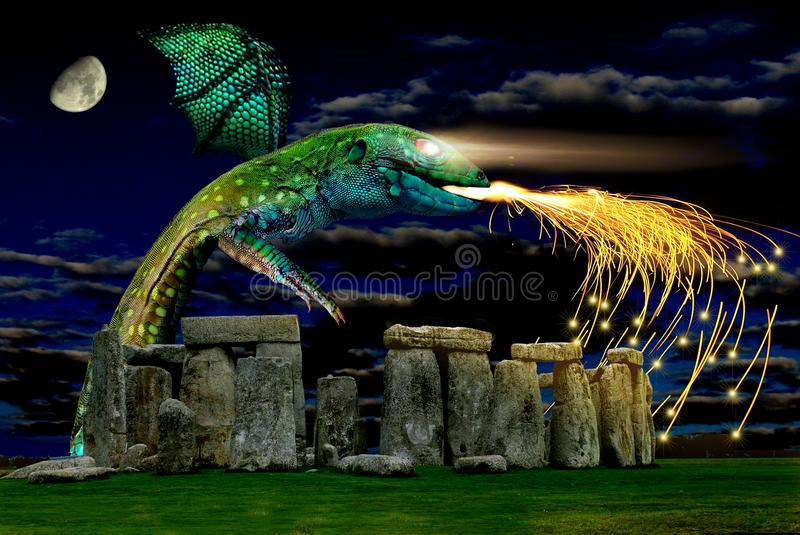 Stonehenge and drago is a megalithic monument type cromlech, from the late Neolithic. Stonehenge and drago, comes to mind the image of a stone circle that rises stock photography