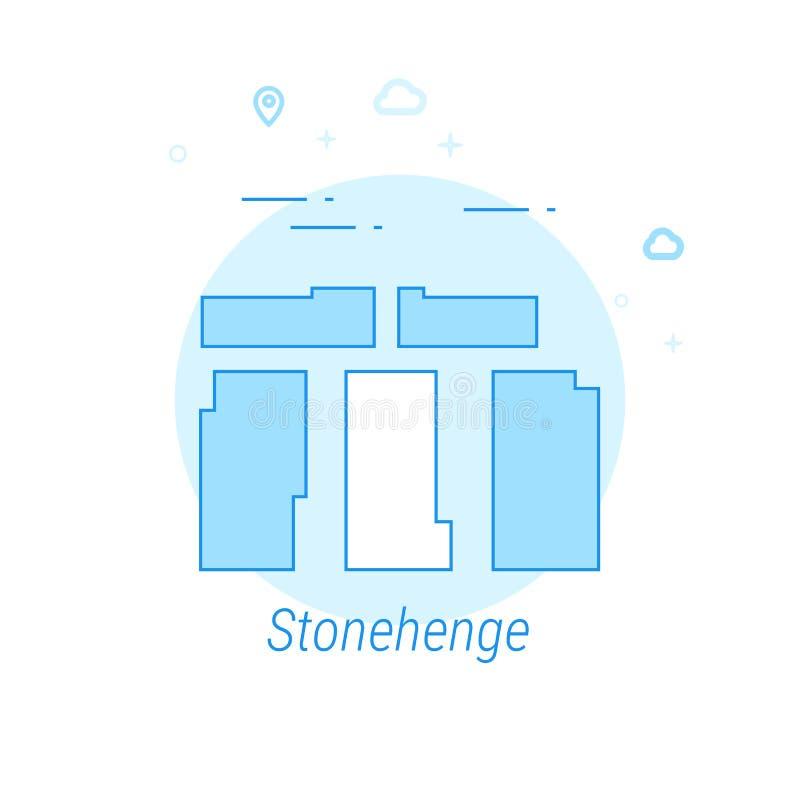 Stonehenge, ejemplo plano del vector de Inglaterra, icono Diseño monocromático azul claro Movimiento Editable ilustración del vector