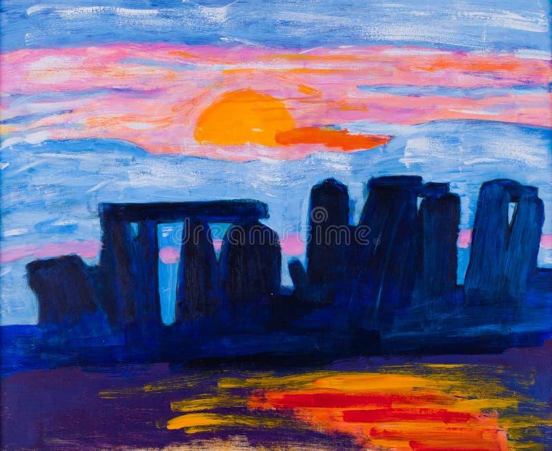 Stonehenge en la pintura BRITÁNICA de Kay Gale stock de ilustración