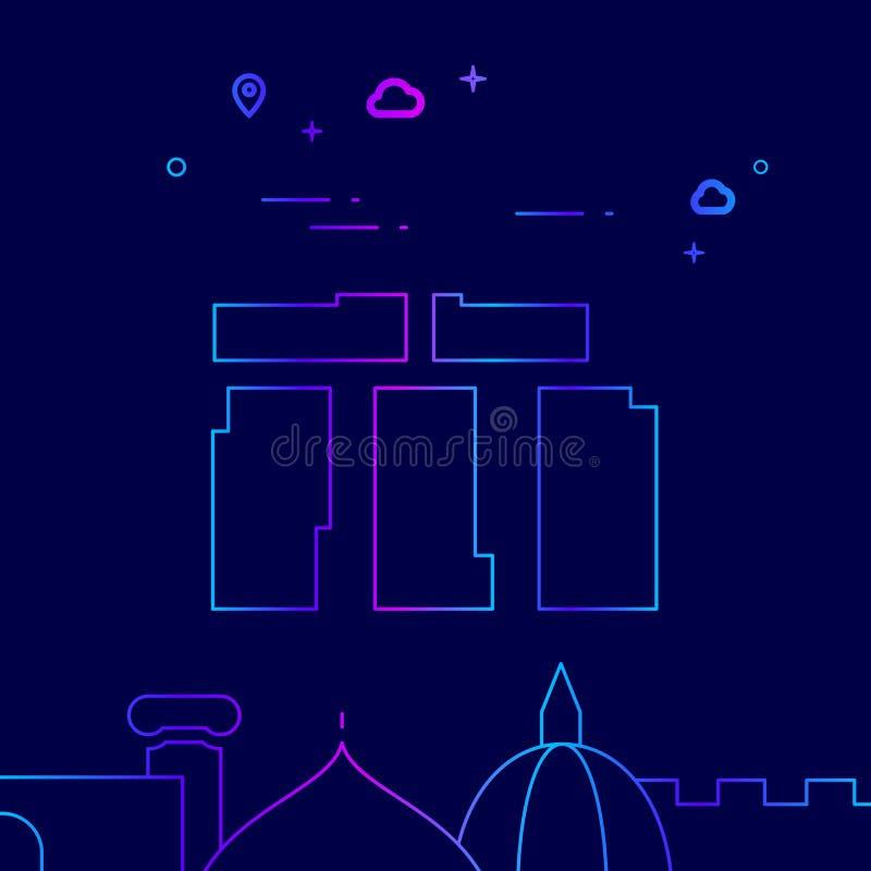 Stonehenge, England Vector Line Icon, Illustration on a Dark Blue Background. Related Bottom Border royalty free illustration