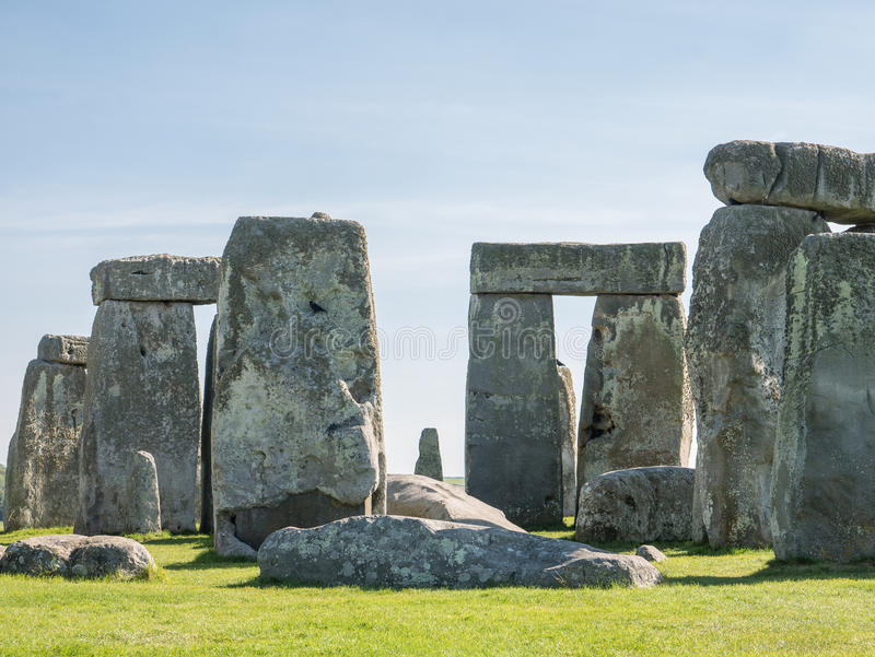 Stonehenge, England. Stonehenge is a 4,500 year old, prehistoric, neolithic monument in Wiltshire, England, where the stones form an ancient temple aligned on stock photo
