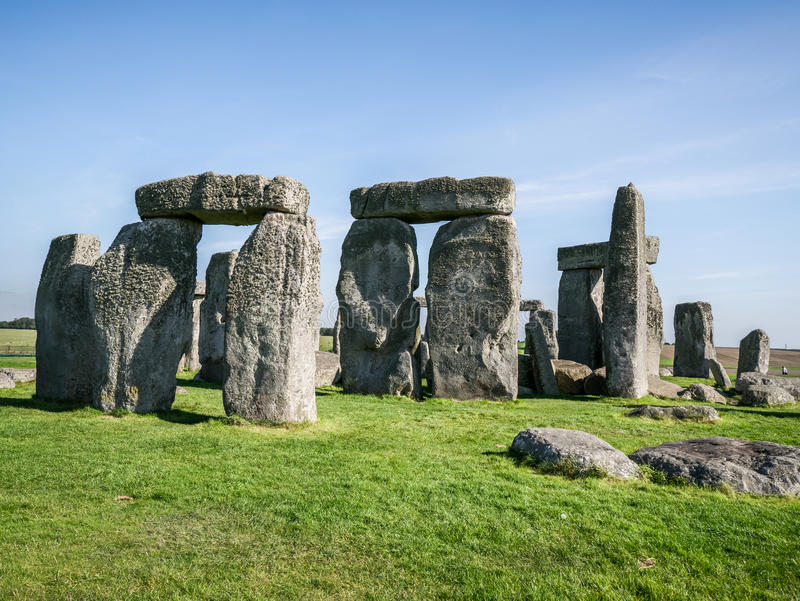 Stonehenge, England. Stonehenge is a 4,500 year old, prehistoric, neolithic monument in Wiltshire, England, where the stones form an ancient temple aligned on royalty free stock images