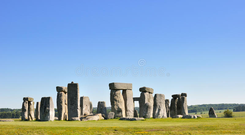 Stonehenge. English Heritage. Stonehenge is a prehistoric monument located in the English county of Wiltshire, about 3.2 kilometres (2.0 mi) west of Amesbury and royalty free stock photo