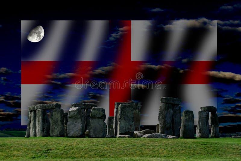 Stonehenge et drapeau anglais est un monument mégalithique néolithique image libre de droits