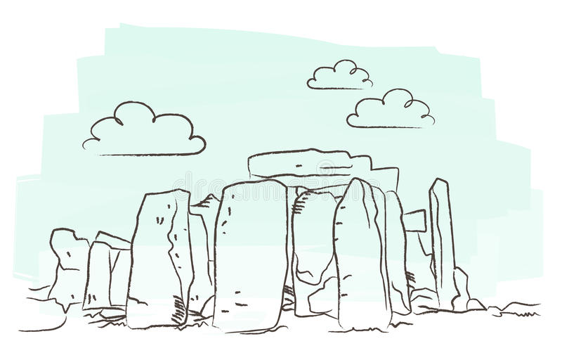 Stonehenge vector. Illustration of stonehenge isolated against white background + vector eps file royalty free illustration