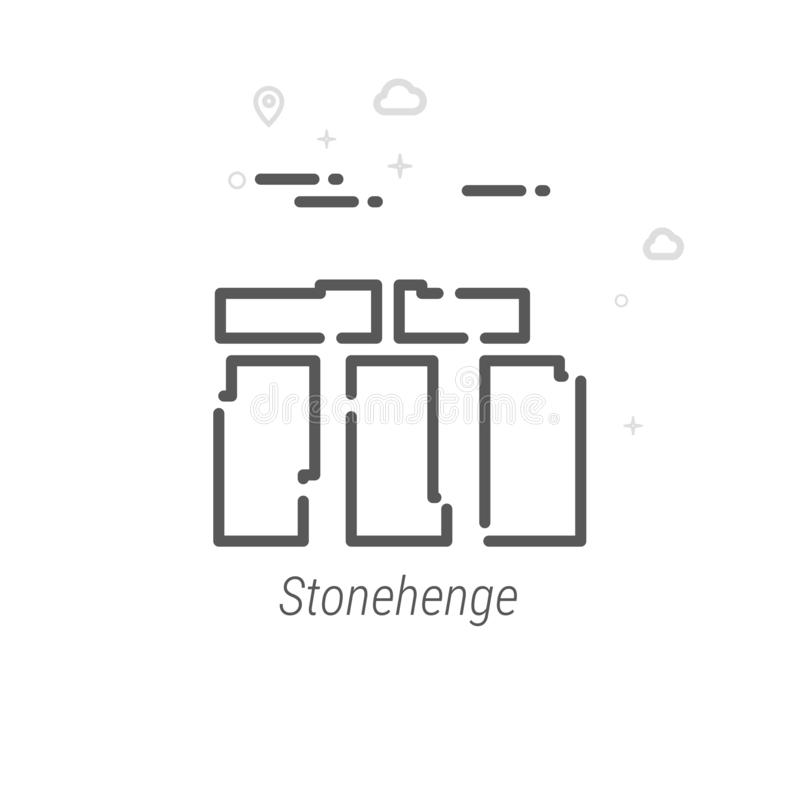 Stonehenge, línea icono, símbolo, pictograma, muestra del vector de Inglaterra Fondo geométrico abstracto ligero Movimiento Edita libre illustration