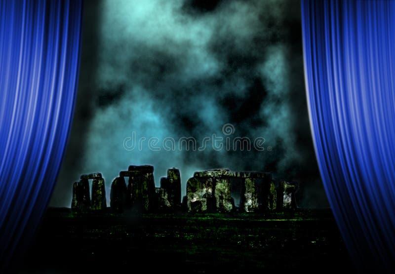 Stonehenge landscape and curtains royalty free illustration