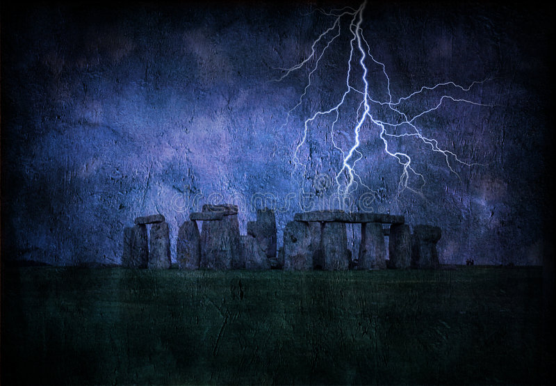 Stonehenge Lighting Storm stock illustration