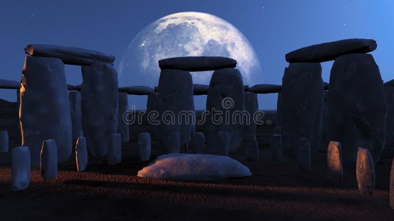 Stonehenge Moonlit stock illustration
