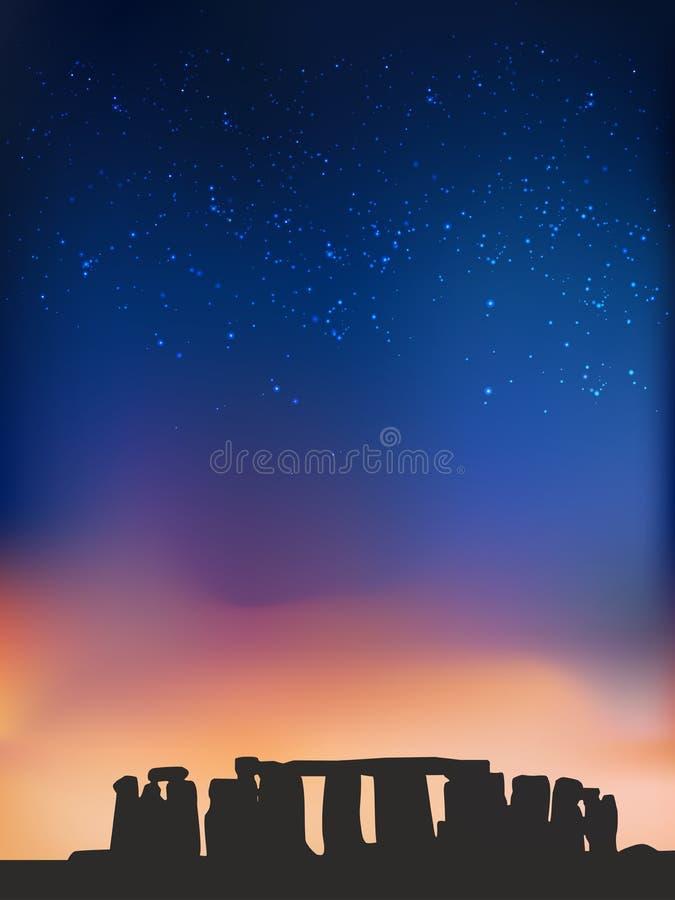 Stonehenge at night, British Historic Building vector illustration