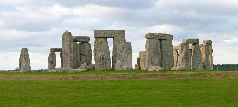 Stonehenge panorama arkivbild