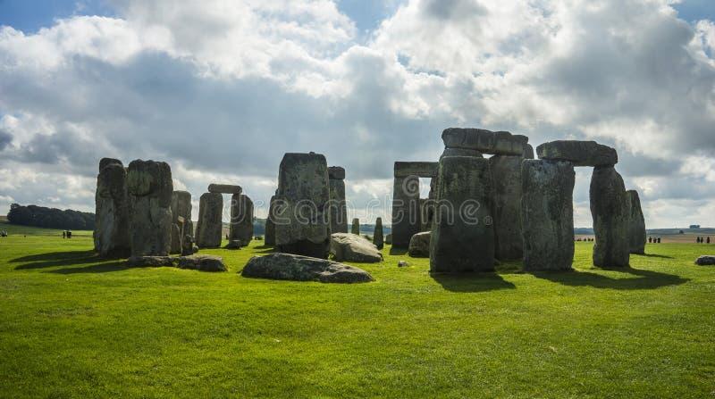 Stonehenge. Panoramic view. Prehistoric stone monument near Salisbury, Wiltshire, UK. in England. Stonehenge. Panoramic view of ancient prehistoric stone stock image