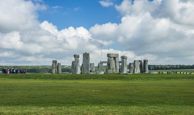 Stonehenge. Panoramic view. Prehistoric stone monument near Salisbury, Wiltshire, UK. in England. Stonehenge. Panoramic view of ancient prehistoric stone stock photo