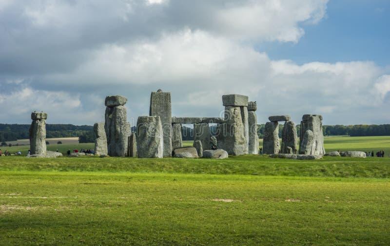 Stonehenge. Panoramic view. Prehistoric stone monument near Salisbury, Wiltshire, UK. in England. Stonehenge. Panoramic view of ancient prehistoric stone royalty free stock photo