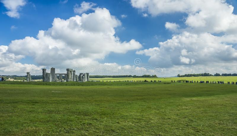 Stonehenge. Panoramic view. Prehistoric stone monument near Salisbury, Wiltshire, UK. in England. Stonehenge. Panoramic view of ancient prehistoric stone stock photos