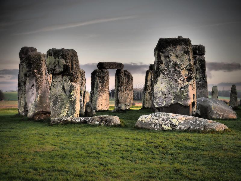Stonehenge - ENGLISH HERITAGE- prehistoric monument. Before Stonehenge stock photography