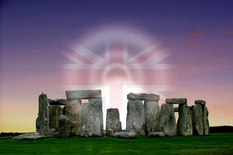 Stonehenge prehistoric monument and the Union Jack. Stonehenge the prehistoric monument and The Union Jack in Wiltshire, England, 2 miles west of Amesbury royalty free stock image
