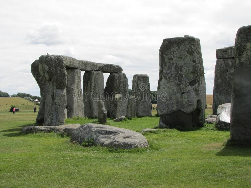 Stonehenge --a prehistoric standing stone monument located in England. Views of the famous prehistoric standing stone monument called Stonehenge, located in stock image