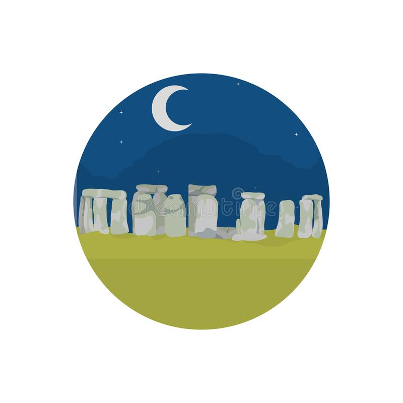 Stonehenge sculpture at night landscape with moon vector illustration