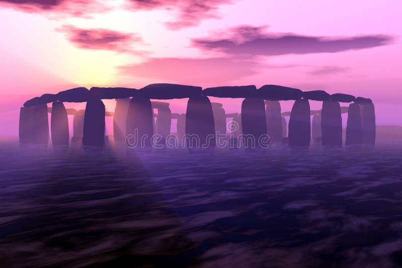 Stonehenge Sunrise. Stonehenge in 3D digital rendering stock illustration