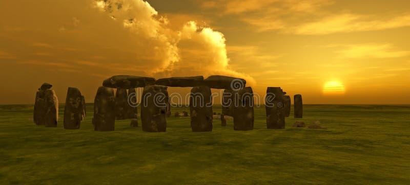 Stonehenge Sunset. Digital rendering of Stonehenge at sunset royalty free illustration