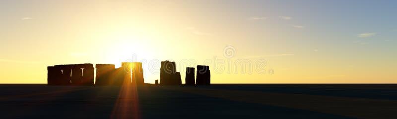 Stonehenge Sunset. Stonehenge at sunset or Sunrise royalty free illustration
