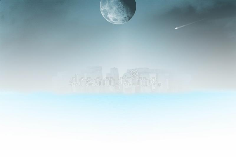 Stonehenge. Surreal landscape. Stonehenge in the fog. Moon and comet in the sky royalty free illustration