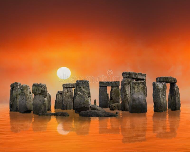 Stonehenge surrealista, salida del sol, puesta del sol, ruinas antiguas, fondo imagen de archivo libre de regalías